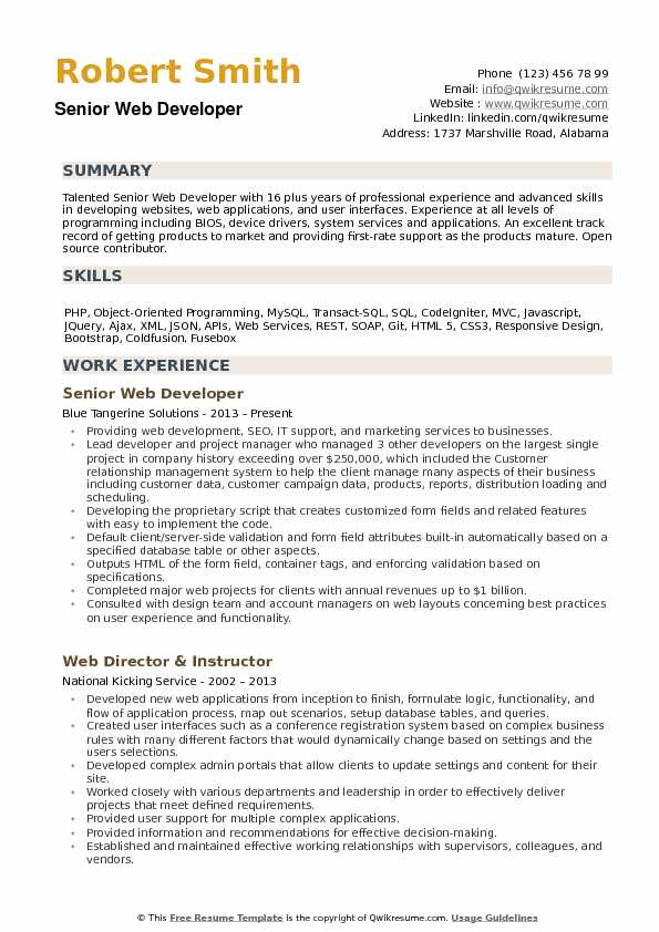 Senior Web Developer Resume Samples QwikResume