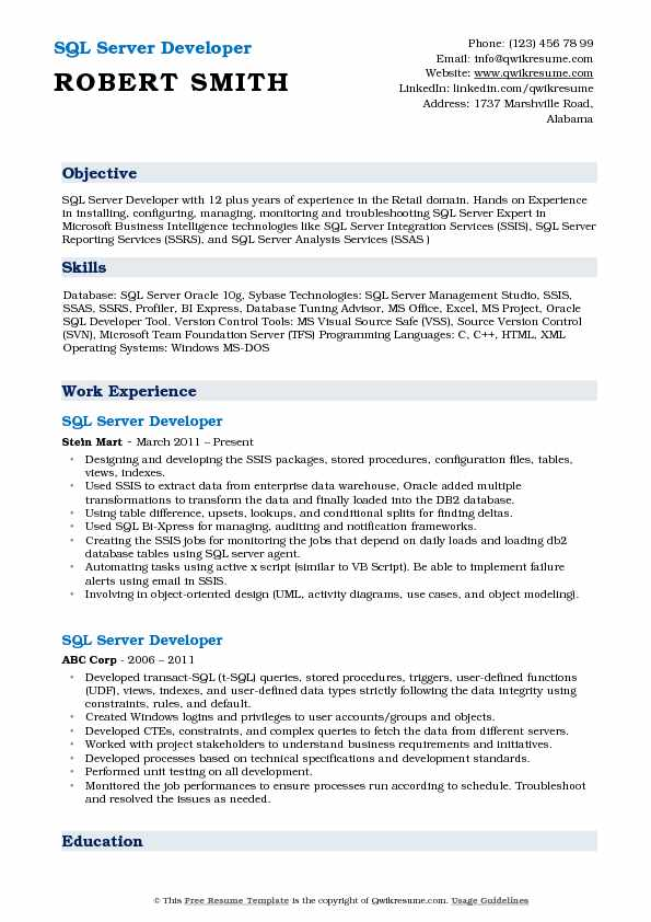SQL Server Developer Resume Samples QwikResume - sql programmer resume