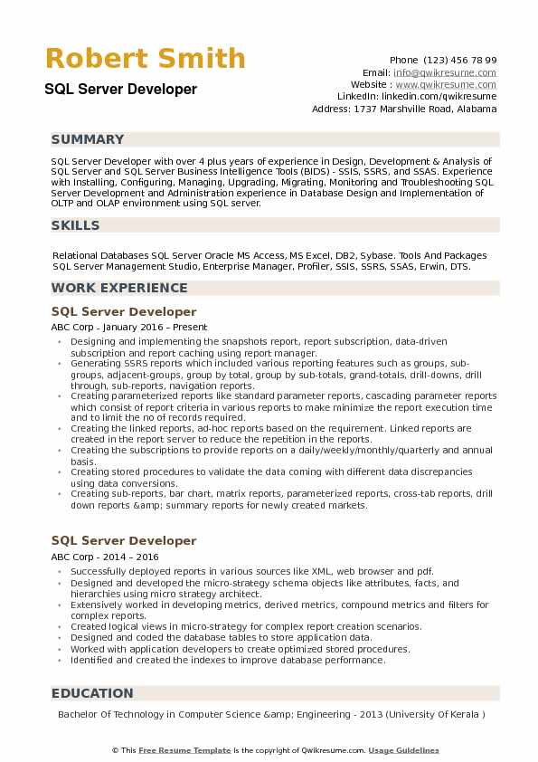 SQL Server Developer Resume Samples QwikResume