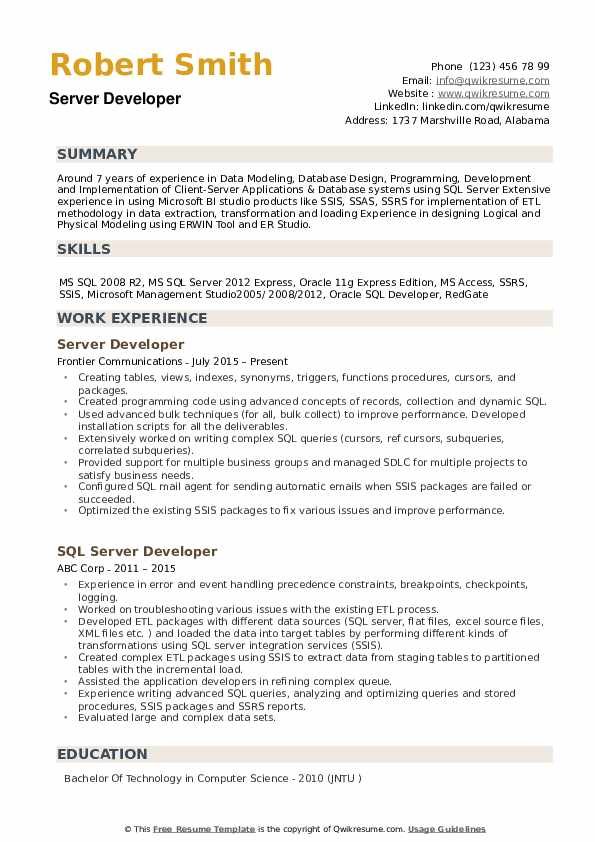 Server Developer Resume Samples QwikResume