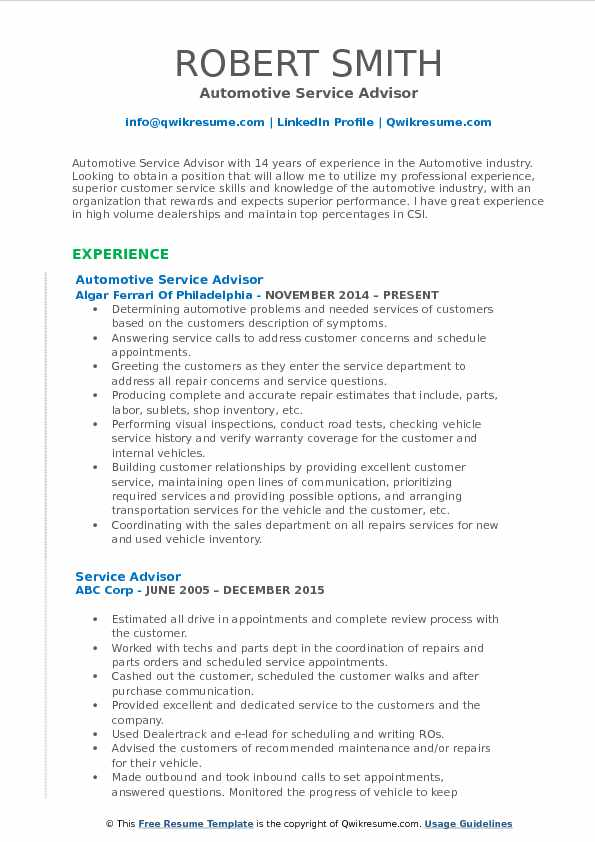 resume for customer service pdf