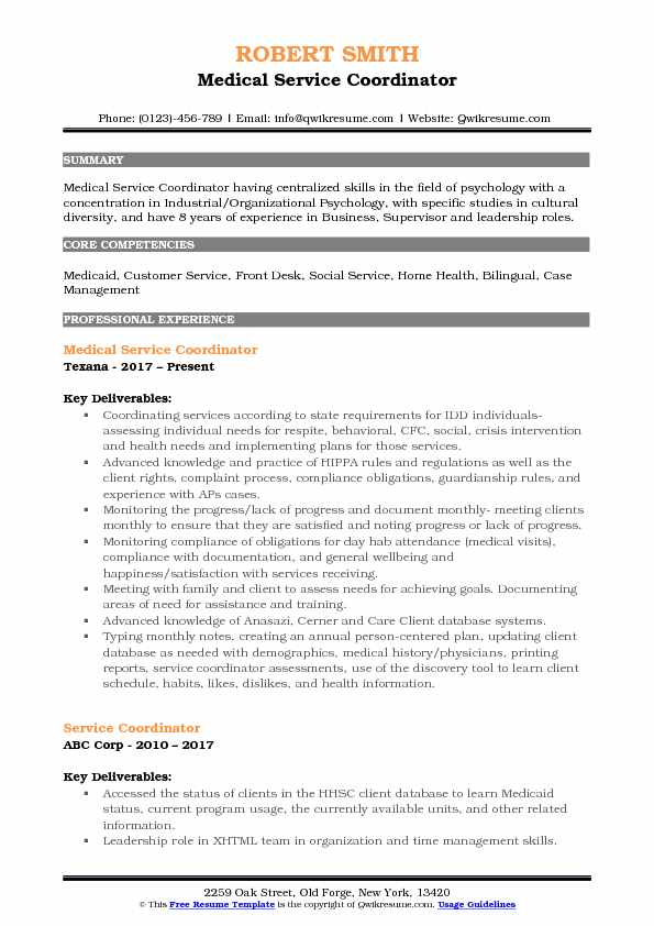 Service Coordinator Resume Samples QwikResume