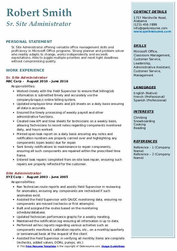 Site Administrator Resume Samples QwikResume