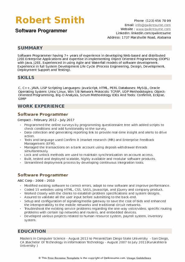 Software Programmer Resume Samples QwikResume