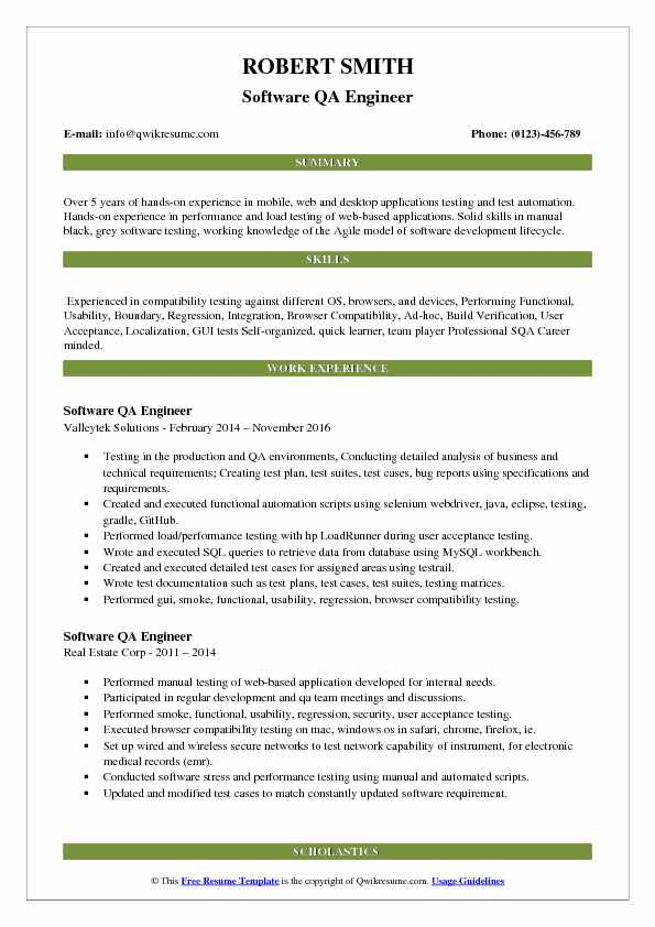 resume objective qa engineer
