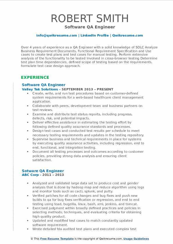 software quality assurance engineer resume pdf