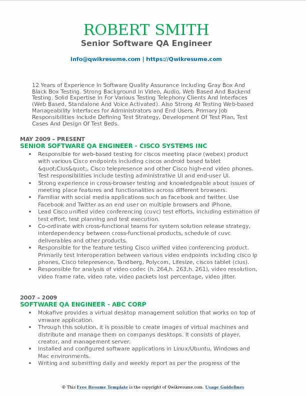 Software QA Engineer Resume Samples QwikResume - quality assurance engineer resume