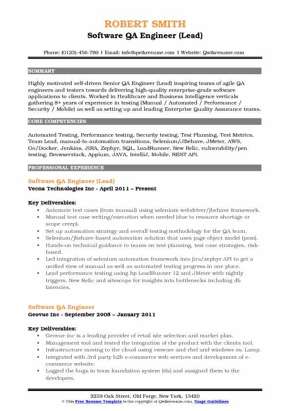 Software QA Engineer Resume Samples QwikResume - senior qa engineer sample resume