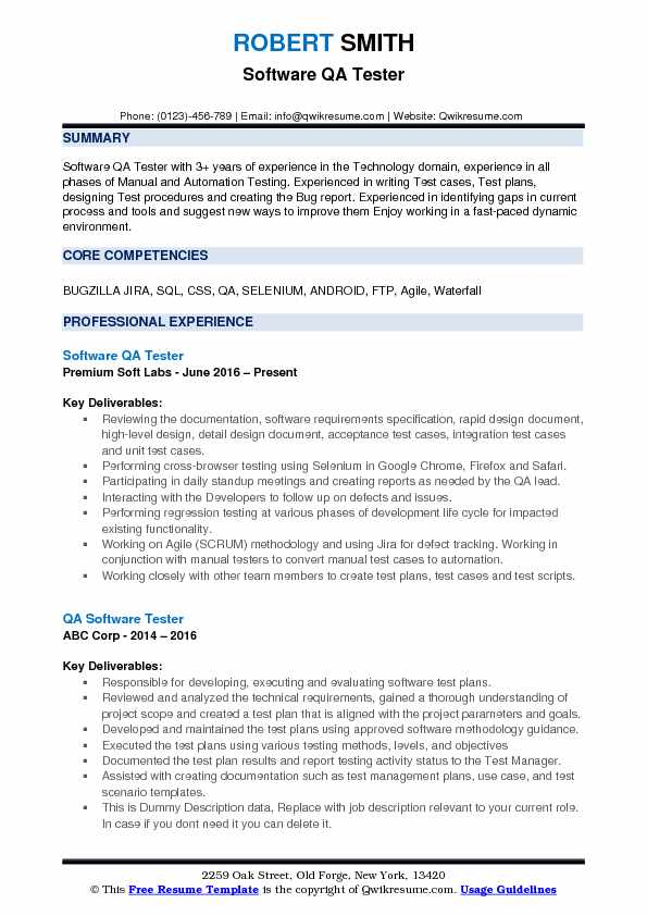resume for qa tester 3 years experience