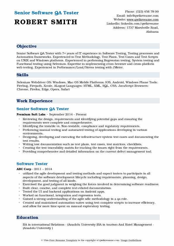 senior qa tester resume