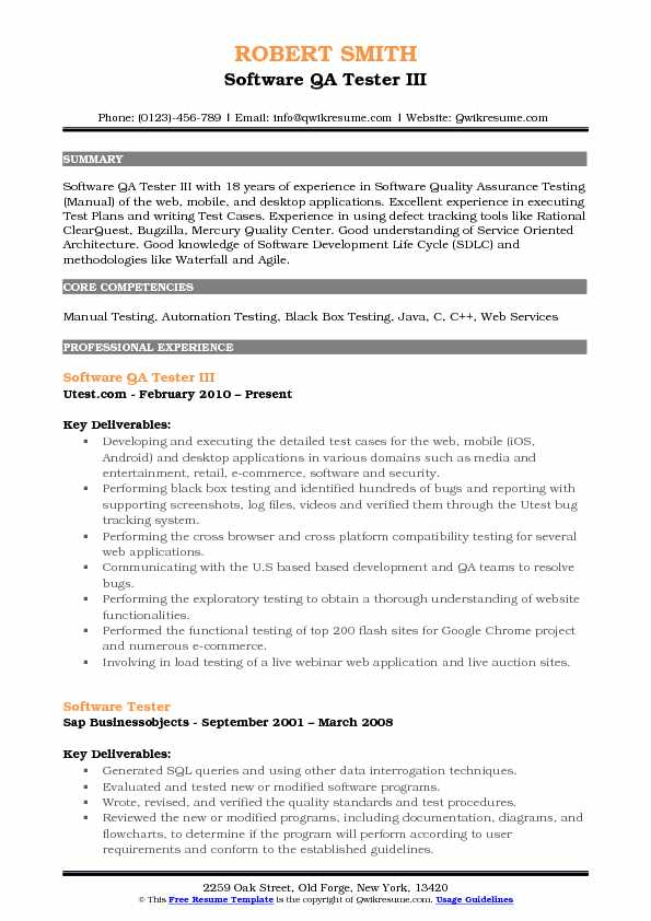 qa automation developer resume samples