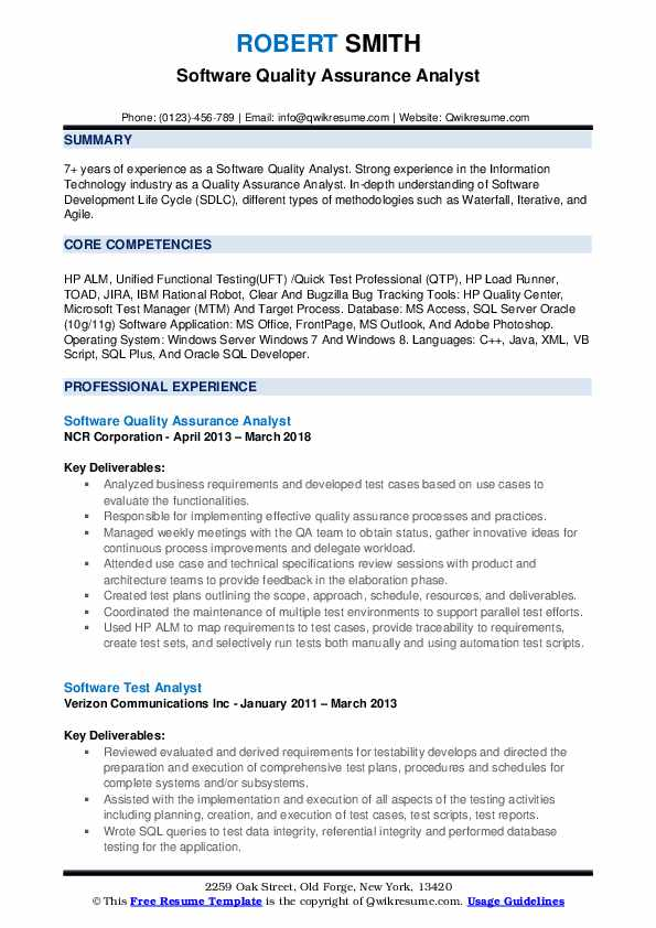 Software Quality Assurance Analyst Resume Samples QwikResume