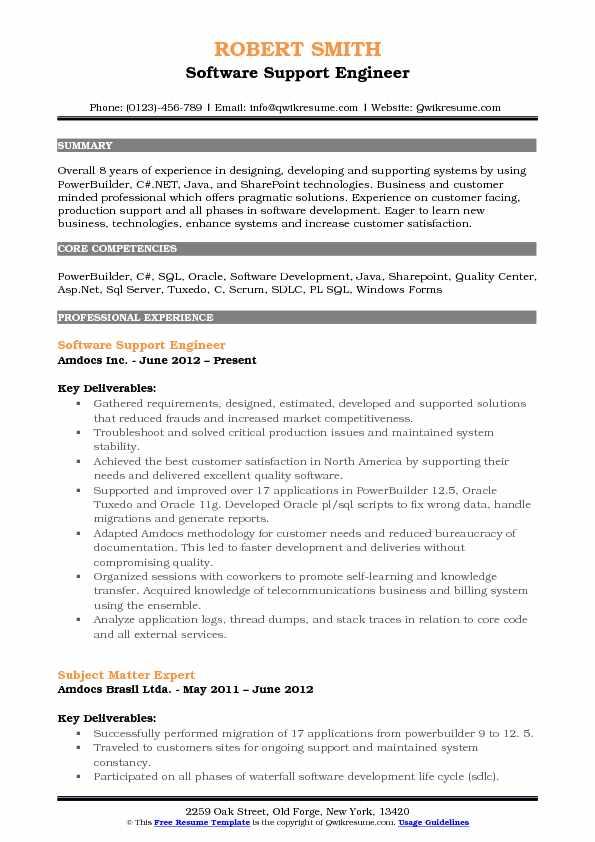 Software Support Engineer Resume Samples QwikResume - application support engineer sample resume