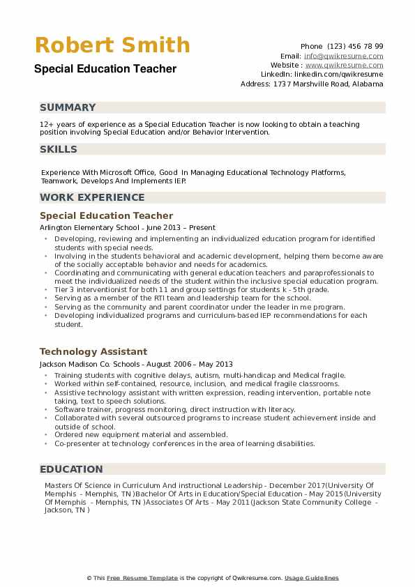 autism teacher resume examples