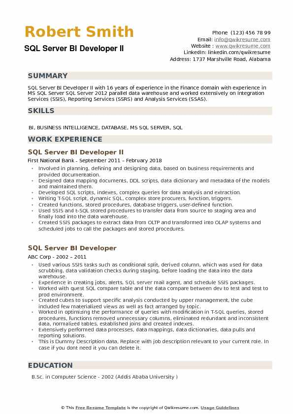 SQL Server BI Developer Resume Samples QwikResume - Server Experience Resume Examples