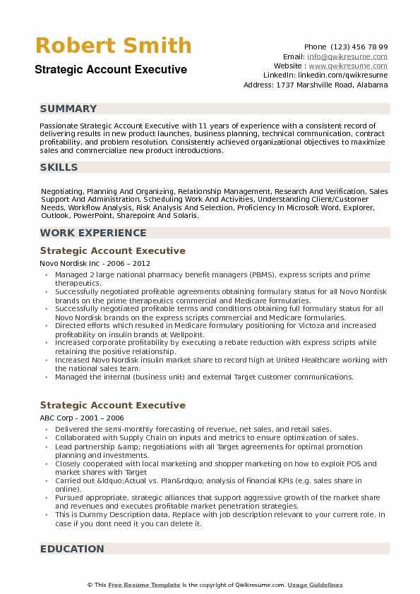 Strategic Account Executive Resume Samples QwikResume