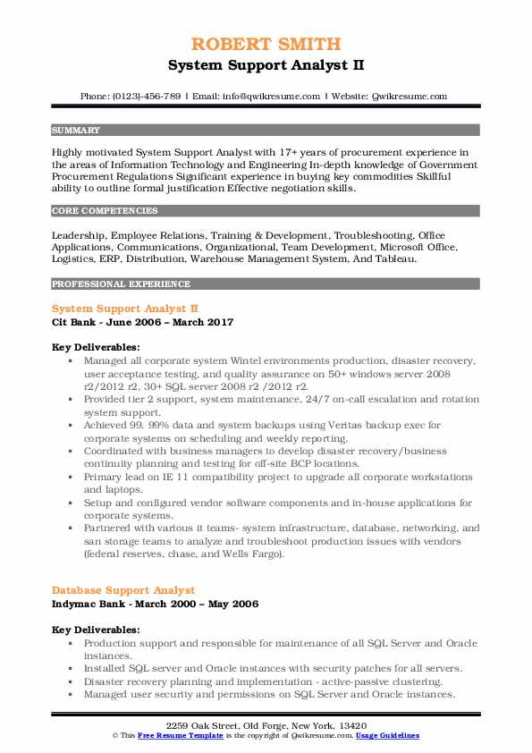 System Support Analyst Resume Samples QwikResume