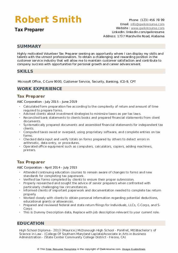 professional tax preparer resume templates to download