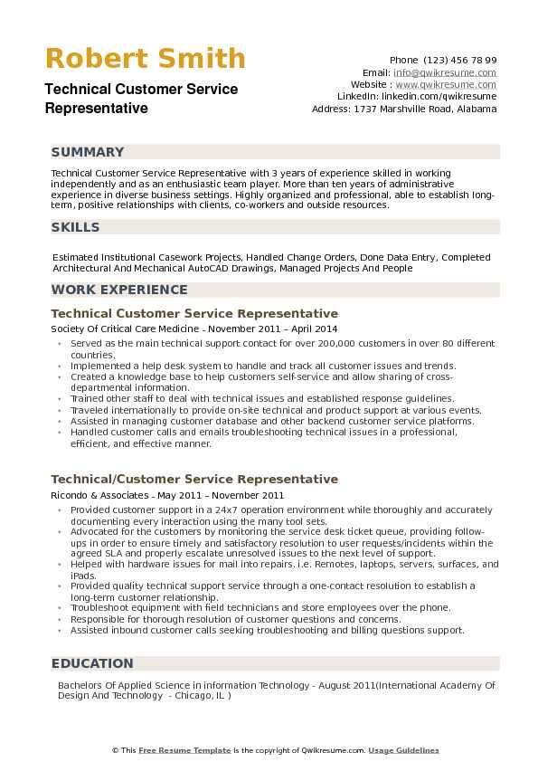 Technical Customer Service Representative Resume Samples QwikResume - sample customer service representative resume
