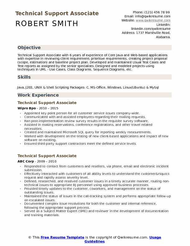 Technical Support Associate Resume Samples QwikResume