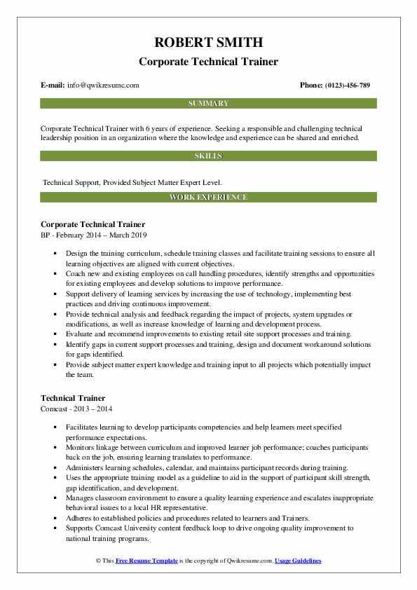 corporate trainer job description