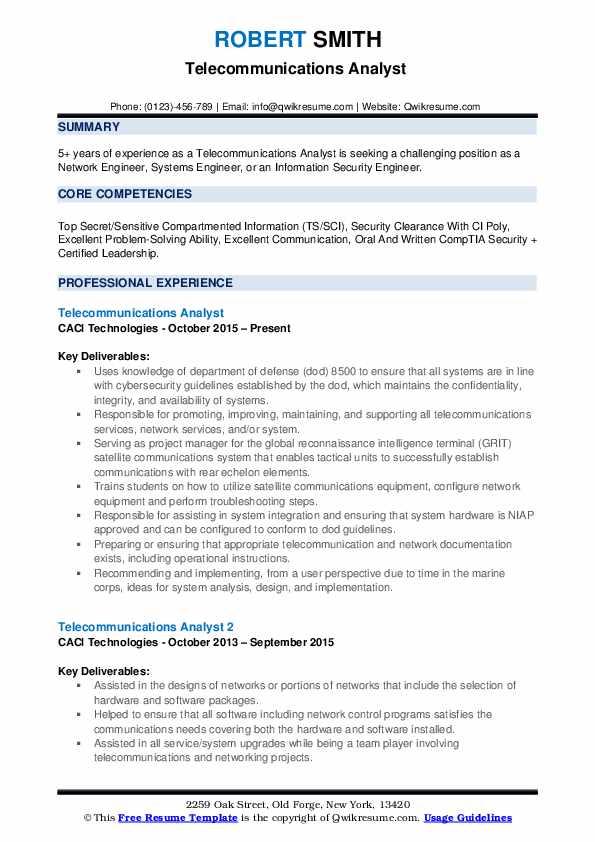 Telecommunications Analyst Resume Samples QwikResume