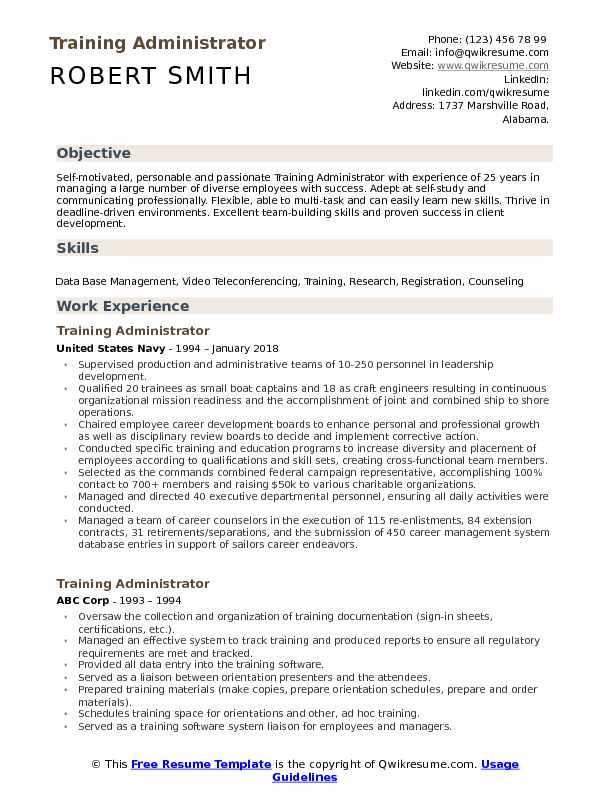 Training Administrator Resume Samples QwikResume - training resume