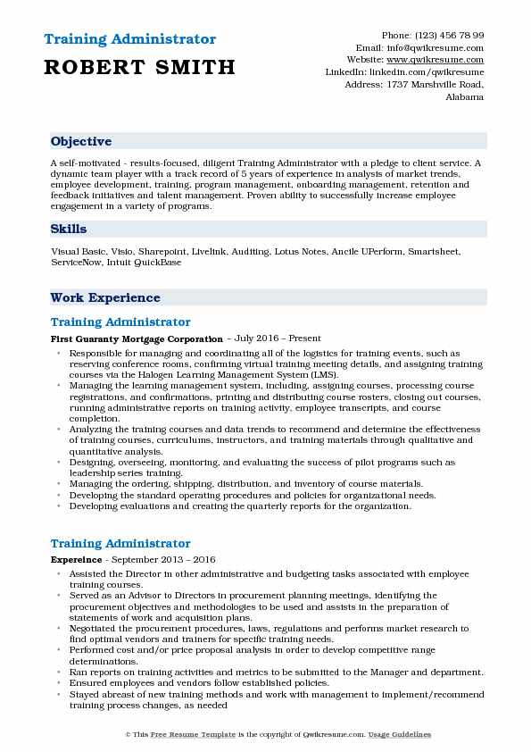 Training Administrator Resume Samples QwikResume