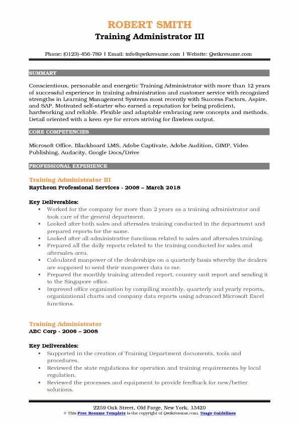 Training Administrator Resume Samples QwikResume