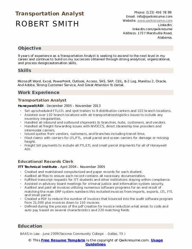 Transportation Analyst Resume Samples QwikResume