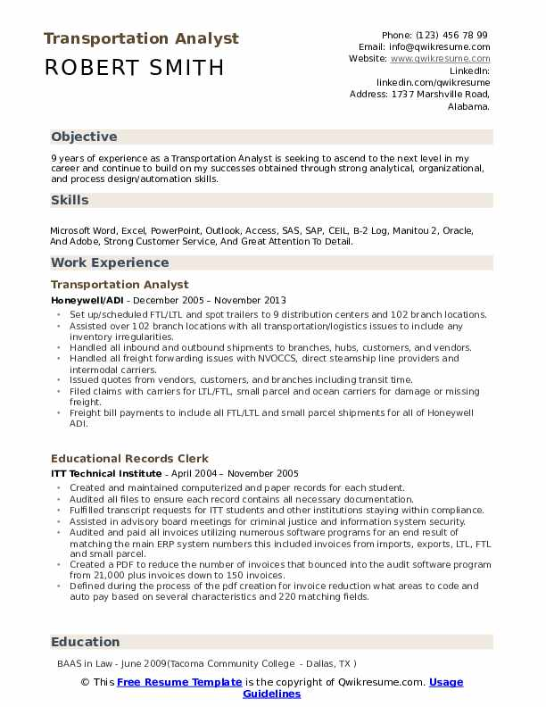 transportation analyst resume