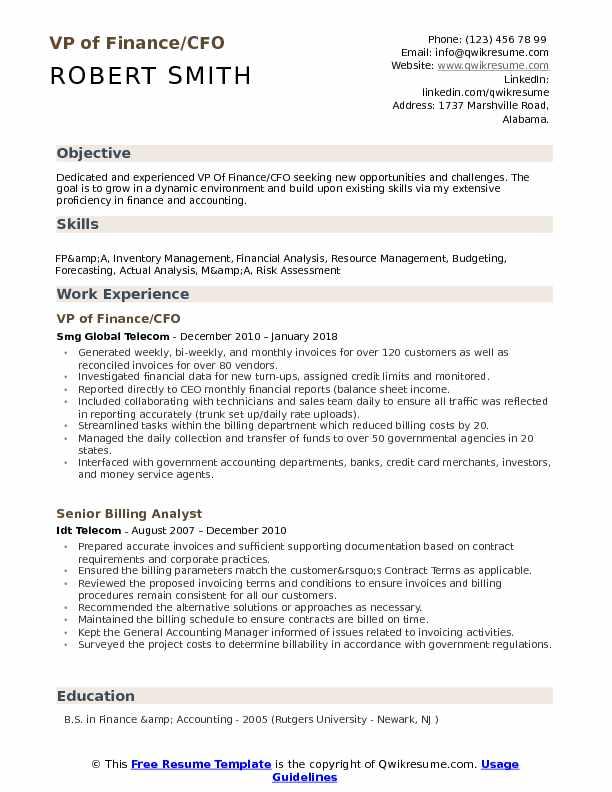 VP Of Finance Resume Samples QwikResume