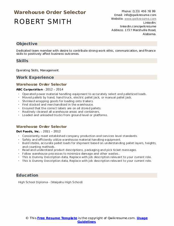 resume skills abilities example for warehouse