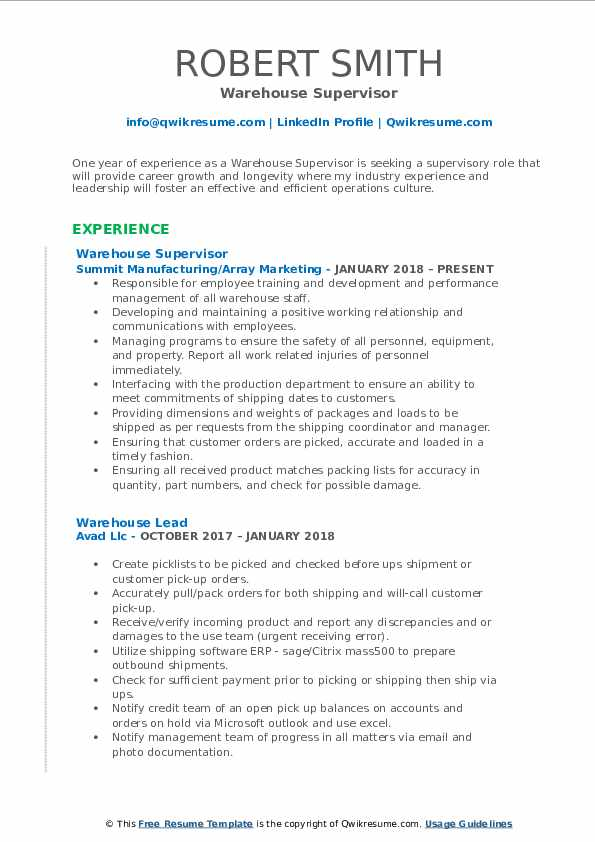 resume samples for supervisor