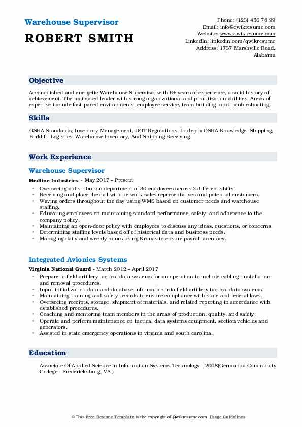Warehouse Supervisor Resume Samples QwikResume