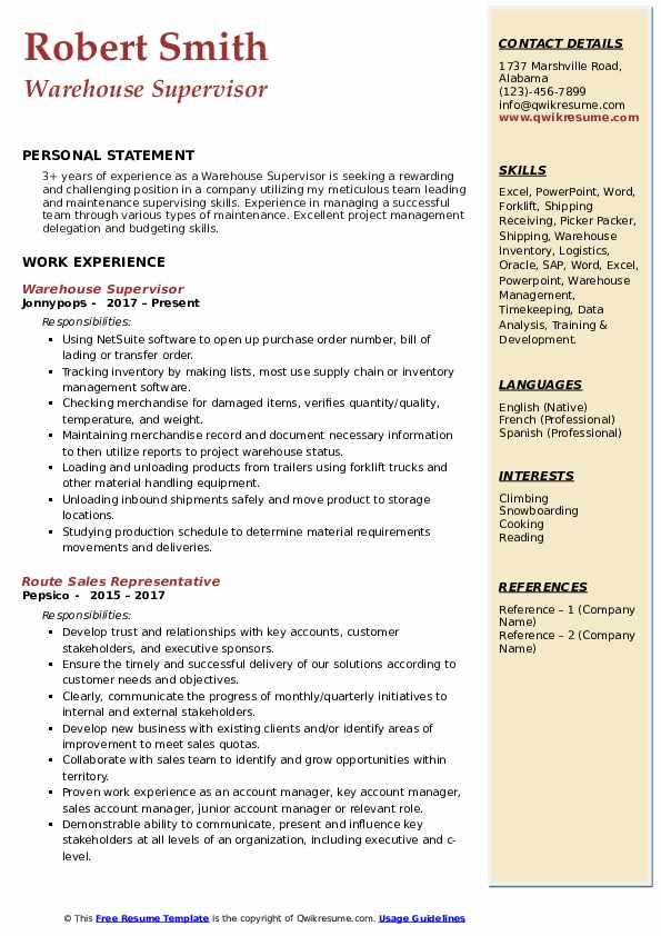 samples of warehouse supervisor resume