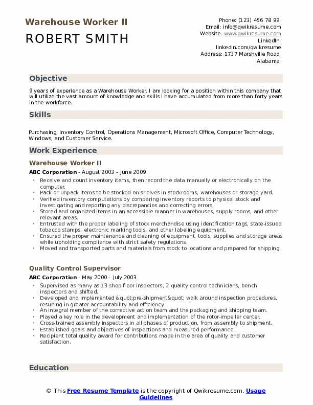 warehouse resume sample pdf