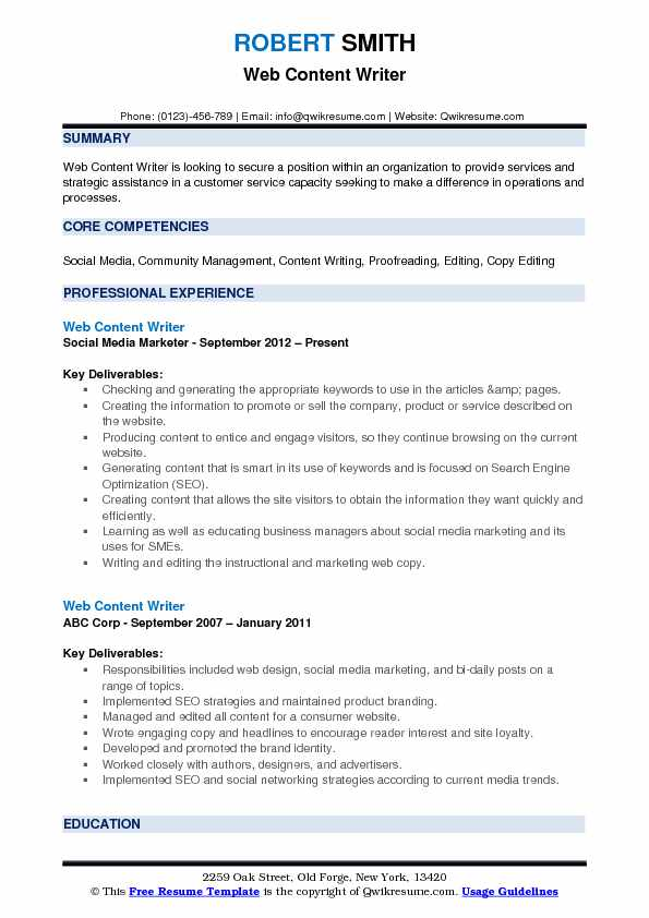 Web Content Writer Resume Samples QwikResume - content writer resume