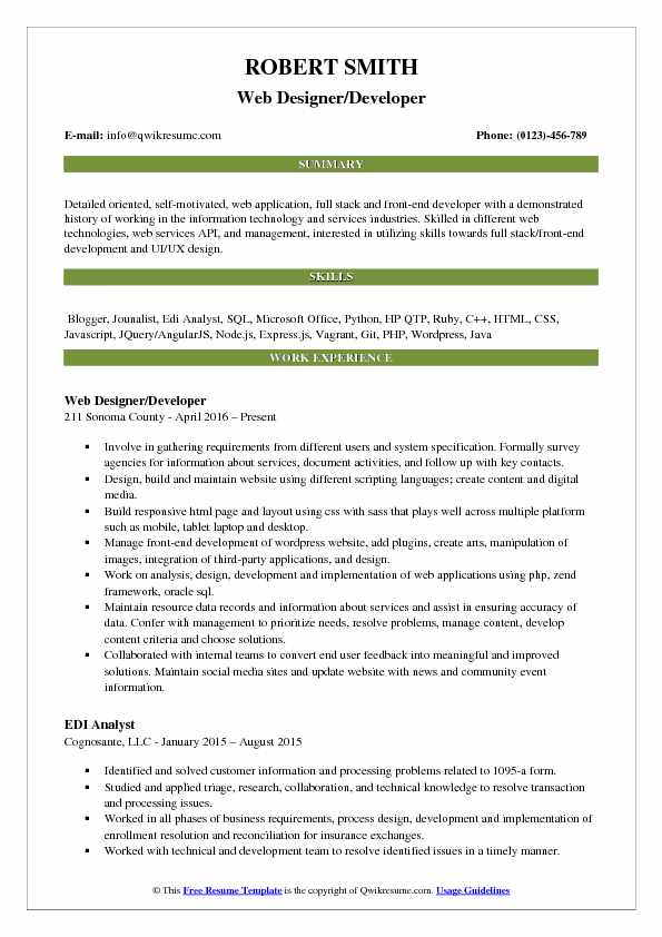 Web Developer Designer Resume Samples QwikResume - digital image processing resume