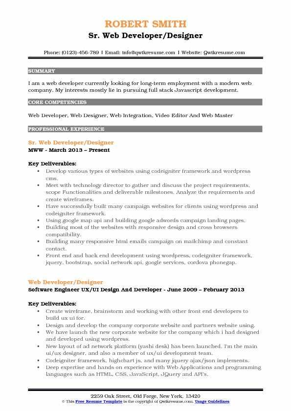 Web Developer Designer Resume Samples QwikResume