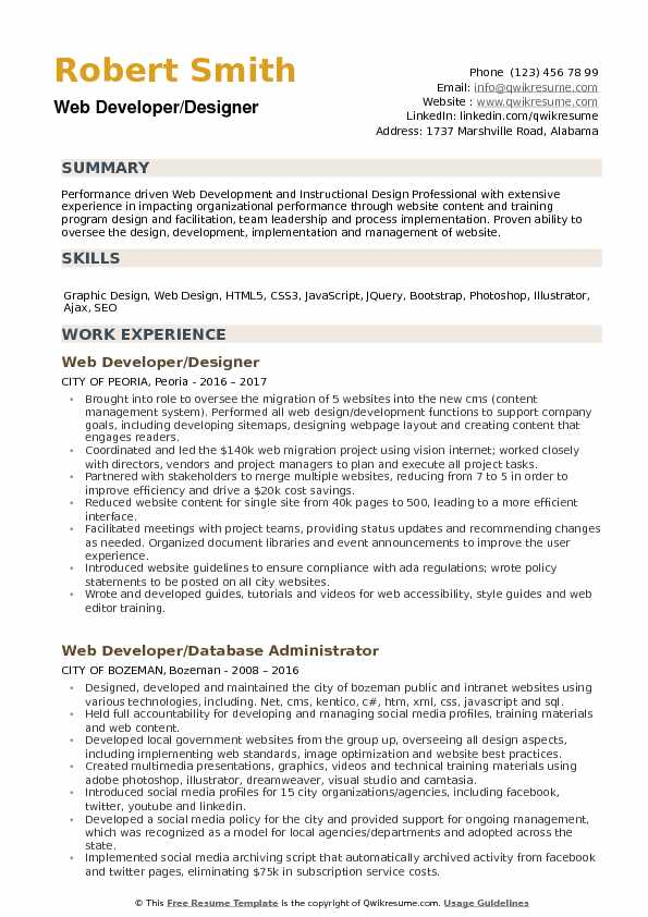 Web Developer Designer Resume Samples QwikResume - web design resume example