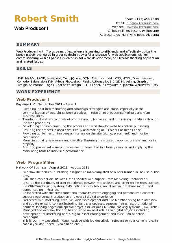 Web Producer Resume Samples QwikResume - web producer resume