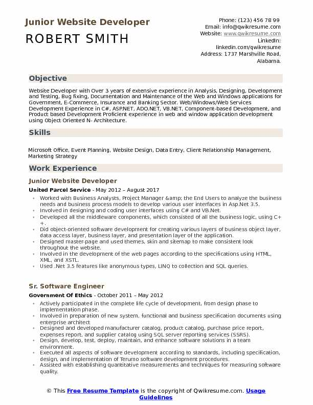 Website Developer Resume Samples QwikResume