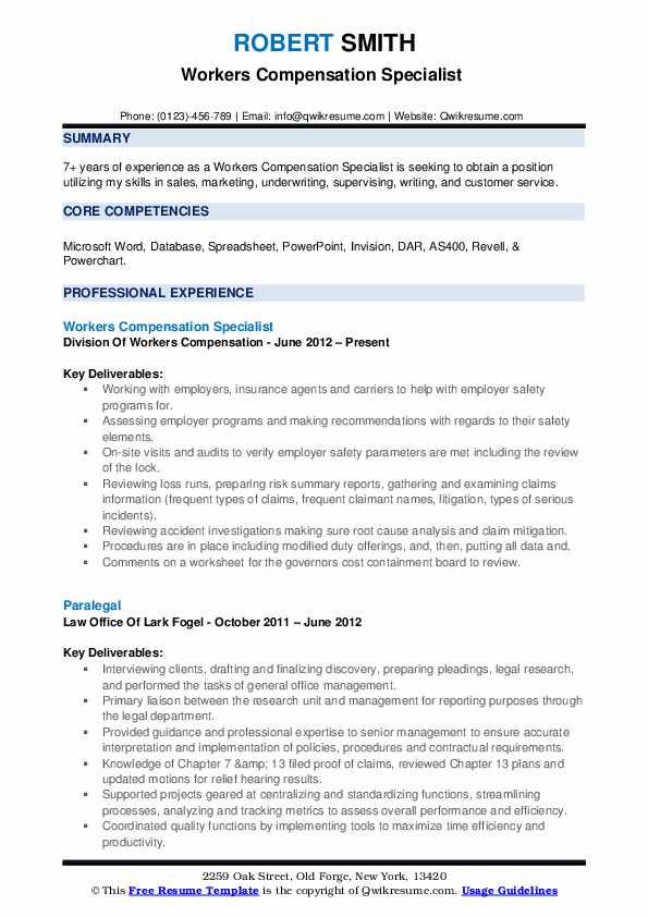 Workers Compensation Specialist Resume Samples QwikResume