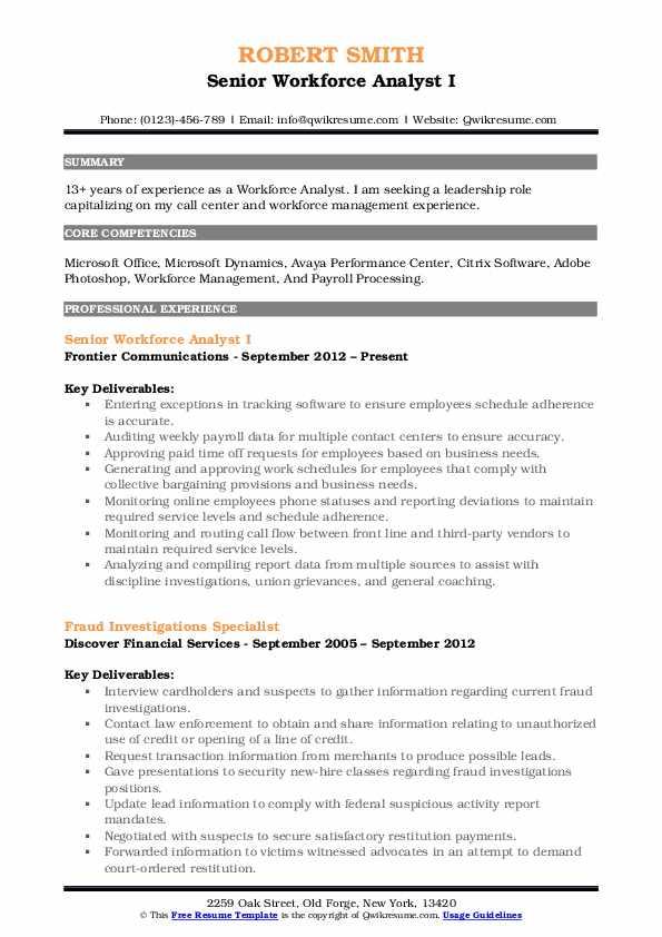 workforce management resume sample