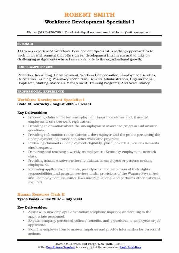 Workforce Development Specialist Resume Samples QwikResume