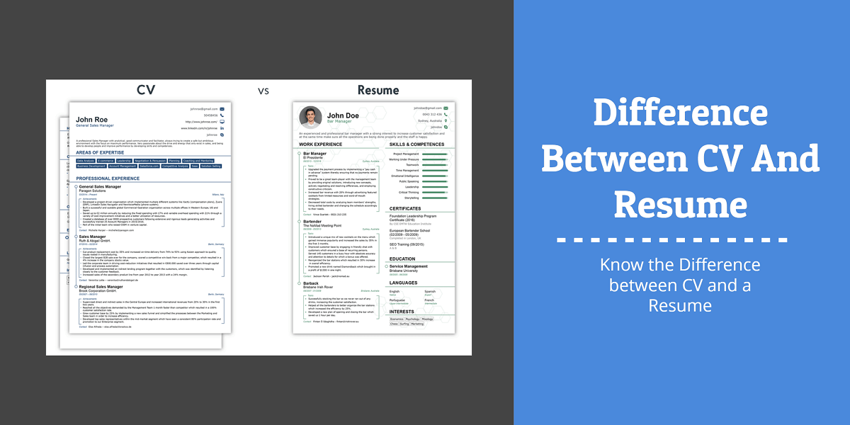 difference between cv and resume pdf