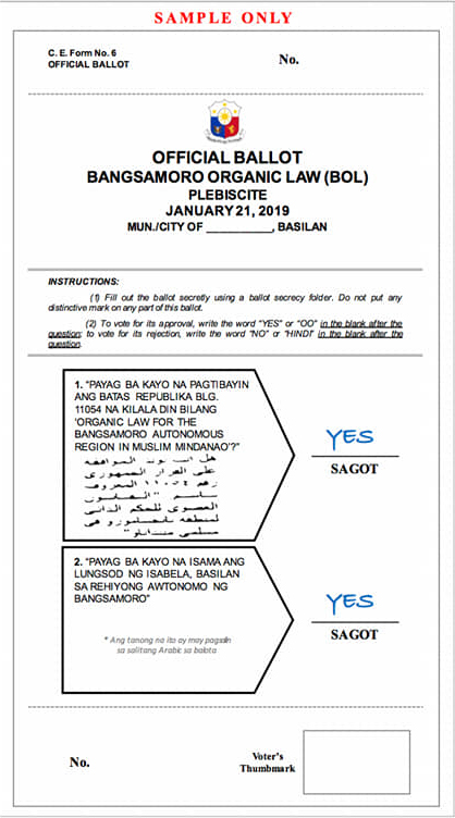 LOOK Questions, voting instructions for Bangsamoro plebiscite