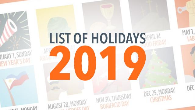 LIST 2019 Philippine Holidays