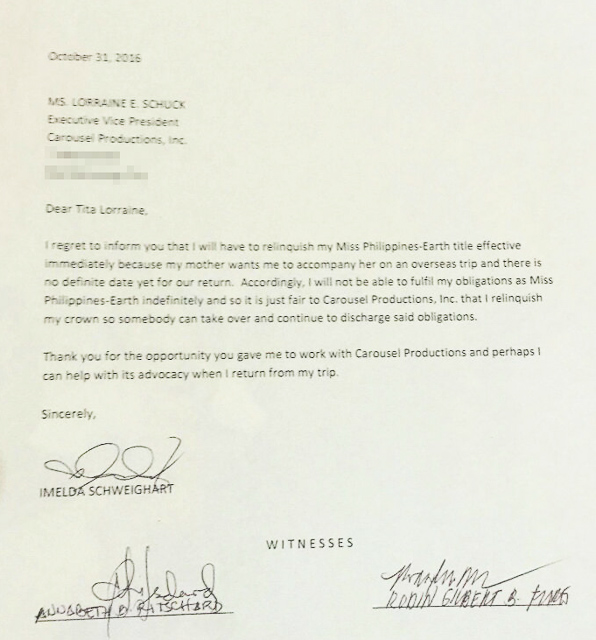LOOK Imelda Schweighart\u0027s letter resigning from Miss PH Earth duties - resignation letters